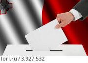 Купить «Флаг Мальты и рука, опускающая бюллетень в урну», иллюстрация № 3927532 (c) Александр Макаров / Фотобанк Лори