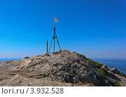 Купить «Триангуляционный пункт на вершине горы Сокол», фото № 3932528, снято 10 августа 2012 г. (c) Юрий Коблов / Фотобанк Лори