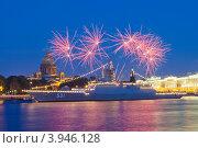 Купить «Фейерверк в день ВМФ. Санкт-Петербург», эксклюзивное фото № 3946128, снято 29 июля 2012 г. (c) Литвяк Игорь / Фотобанк Лори