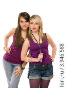 Купить «Студийный портрет двух симпатичных женщин, белый фон», фото № 3946588, снято 25 марта 2011 г. (c) Сергей Сухоруков / Фотобанк Лори