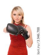 Купить «Блондинка в боксерских перчатках», фото № 3946788, снято 25 марта 2011 г. (c) Сергей Сухоруков / Фотобанк Лори
