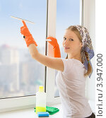 Молодая домохозяйка моет окна в квартире. Стоковое фото, фотограф Евгений Атаманенко / Фотобанк Лори