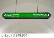 Купить «Информационные указатели в Санкт-Петербургском метро», фото № 3948964, снято 18 августа 2012 г. (c) Олег Тыщенко / Фотобанк Лори