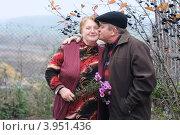 Купить «Пожилая пара на прогулке осенью», эксклюзивное фото № 3951436, снято 21 октября 2012 г. (c) Майя Крученкова / Фотобанк Лори