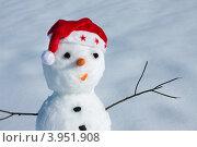 Снеговик в шапке Санта-Клауса. Стоковое фото, фотограф ElenArt / Фотобанк Лори