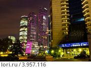 Комплекс Москва Сити ночью (2012 год). Редакционное фото, фотограф Екатерина Романова / Фотобанк Лори