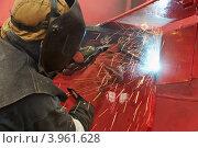 Купить «Сварщик за работой», фото № 3961628, снято 5 мая 2012 г. (c) Дмитрий Калиновский / Фотобанк Лори