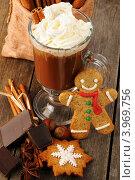 Купить «Горячий шоколад в стеклянной кружке со взбитыми сливками», фото № 3969756, снято 26 октября 2012 г. (c) Николай Охитин / Фотобанк Лори