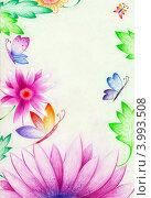 Купить «Цветочная поздравительная открытка,рисунок,цветные карандаши», иллюстрация № 3993508 (c) Ирина Иванова / Фотобанк Лори