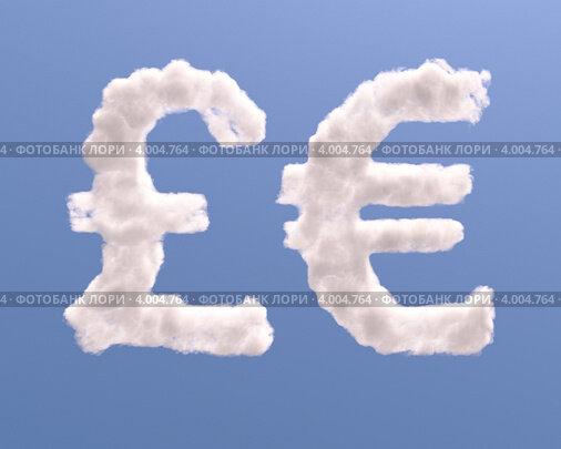 Изображение «Символы евро и фунта из облаков»