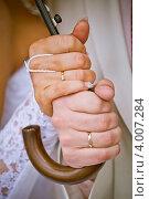 Купить «Руки молодоженов держат зонтик», фото № 4007284, снято 16 августа 2012 г. (c) Ольга Денисова / Фотобанк Лори