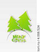 Купить «Новогодний фон с бумажными елочками», иллюстрация № 4008524 (c) Евгения Малахова / Фотобанк Лори