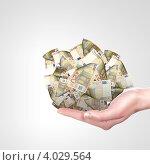 Купить «Купюры евро на ладони», фото № 4029564, снято 18 июля 2012 г. (c) Sergey Nivens / Фотобанк Лори