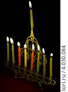 Купить «Свечи, зажженные в последний день Хануки», фото № 4030084, снято 20 ноября 2006 г. (c) Шутов Игорь / Фотобанк Лори