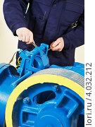 Купить «Специалист ремонтирует тормозной механизм лифта», фото № 4032212, снято 19 марта 2012 г. (c) Дмитрий Калиновский / Фотобанк Лори