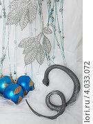 Купить «Змея рядом с ёлочными игрушками», фото № 4033072, снято 19 ноября 2012 г. (c) Екатерина Панфилова / Фотобанк Лори