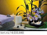 Купить «Спа-натюрморт с горящими свечами, бамбуком и альстромериями», фото № 4033840, снято 14 ноября 2012 г. (c) Литова Наталья / Фотобанк Лори