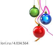 Купить «Основа для новогодней открытки. Синий, красный и зеленый новогодние шары с лентами на белом, изолированный», иллюстрация № 4034564 (c) Александр Чернышёв / Фотобанк Лори