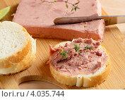Купить «Паштет из печени и ломтики хлеба на разделочной доске», фото № 4035744, снято 17 апреля 2012 г. (c) Tatjana Baibakova / Фотобанк Лори
