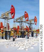 Купить «Добыча нефти - нефтяные качалки», фото № 4036700, снято 20 февраля 2008 г. (c) Георгий Shpade / Фотобанк Лори