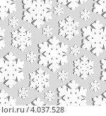 Купить «Новогодний бесшовный фон из белых снежинок», иллюстрация № 4037528 (c) Катыкин Сергей / Фотобанк Лори