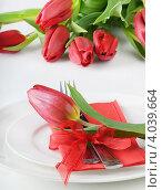 Купить «Сервировка с красными тюльпанами», фото № 4039664, снято 15 февраля 2012 г. (c) Tatjana Baibakova / Фотобанк Лори