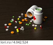 Купить «Разнообразные таблетки и баночки с лекарствами на темном фоне», иллюстрация № 4042524 (c) Александр Чернышёв / Фотобанк Лори