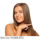Купить «Портрет юной брюнетки с длинными прямыми волосами на белом фоне», фото № 4044872, снято 23 мая 2012 г. (c) Syda Productions / Фотобанк Лори