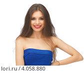 Купить «Юная девушка с темными волосами в синем платье на каблуках на белом фоне», фото № 4058880, снято 27 июня 2012 г. (c) Syda Productions / Фотобанк Лори