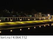 Великий Новгород. Ночной вид на Ярославово Дворище (2012 год). Стоковое фото, фотограф Сергей Бойков / Фотобанк Лори