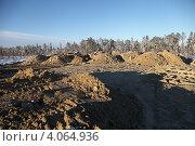 Купить «Устройство грунтового основания на болоте», эксклюзивное фото № 4064936, снято 8 ноября 2012 г. (c) Валерий Акулич / Фотобанк Лори