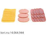 Купить «Нарезанные сыр и колбаса в пластиковых лотках», фото № 4064944, снято 7 июня 2012 г. (c) Татьяна Волгутова / Фотобанк Лори