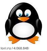 Купить «Забавный пингвин с желтыми клювом и лапами», иллюстрация № 4068848 (c) Евгения Малахова / Фотобанк Лори