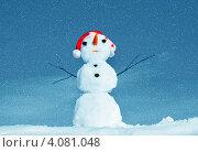 Купить «Снеговик в новогоднем колпаке на фоне неба», фото № 4081048, снято 1 апреля 2012 г. (c) ElenArt / Фотобанк Лори
