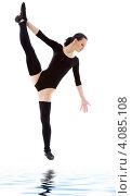 Купить «Гимнастка в черном на белом фоне», фото № 4085108, снято 5 апреля 2008 г. (c) Syda Productions / Фотобанк Лори