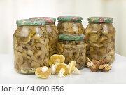 Купить «Маринованные маслята в банках», фото № 4090656, снято 2 ноября 2012 г. (c) Сергей Колесников / Фотобанк Лори
