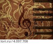 Купить «Музыкальный узор на цветочном фоне», иллюстрация № 4097708 (c) Анна Павлова / Фотобанк Лори