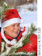 Купить «Женщина в костюме Снегурочки у елки», эксклюзивное фото № 4101120, снято 9 декабря 2012 г. (c) Юрий Морозов / Фотобанк Лори