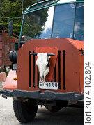 Туристический автобус в городке Пеулла на озере Тодос-лос-Сантос, Чили (2010 год). Редакционное фото, фотограф Nadejda Trifonova Jeraj / Фотобанк Лори