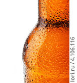 Купить «Пивная бутылка в каплях воды на белом фоне», фото № 4106116, снято 28 ноября 2012 г. (c) Сергей Телеш / Фотобанк Лори