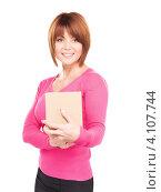 Купить «Деловая женщина с картонной коробкой на белом фоне», фото № 4107744, снято 26 декабря 2009 г. (c) Syda Productions / Фотобанк Лори