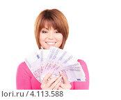 Купить «Счастливая молодая женщина с деньгами в руках на белом фоне», фото № 4113588, снято 26 декабря 2009 г. (c) Syda Productions / Фотобанк Лори