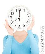 Купить «Молодая женщина с часами в руках на белом фоне», фото № 4113788, снято 12 декабря 2009 г. (c) Syda Productions / Фотобанк Лори