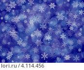 Купить «Новогодний синий фон со снежинками и эффектом боке», иллюстрация № 4114456 (c) Светлана Ильева (Иванова) / Фотобанк Лори