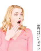 Купить «Портрет приятно удивленно девушки на белом фоне», фото № 4122288, снято 28 марта 2010 г. (c) Syda Productions / Фотобанк Лори