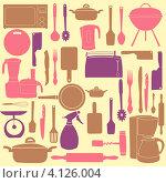 Купить «Фон из рисунков кухонных принадлежностей», иллюстрация № 4126004 (c) Юлия Гапеенко / Фотобанк Лори