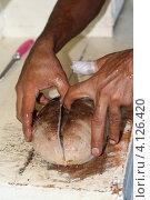 Купить «Приготовление Трепанга-морской огурец», фото № 4126420, снято 1 декабря 2012 г. (c) Робул Дмитрий / Фотобанк Лори
