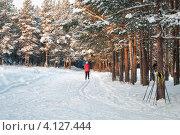 Трасса для катания на лыжах в городе Сегежа, Карелия. Стоковое фото, фотограф Кекяляйнен Андрей / Фотобанк Лори