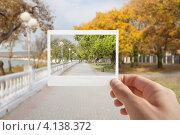 Рука держащая моментальное фото на фоне осеннего пейзажа. Стоковое фото, фотограф Антон Соколов / Фотобанк Лори