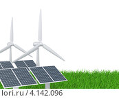 Купить «Ветрогенератор и солнечная батарея на зеленой траве», иллюстрация № 4142096 (c) Маринченко Александр / Фотобанк Лори